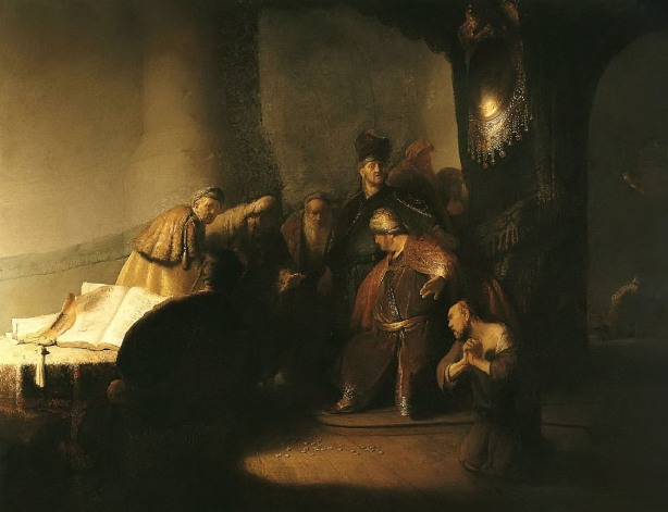 Judas Returning the Thirty Pieces of Silver by Rembrandt